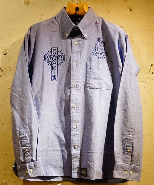 RAKUGAKI NEON Embroidery OX Ford Shirts Blue × Navy