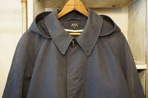 00's A.P.C. distressed navy balmacaan hooded Coat