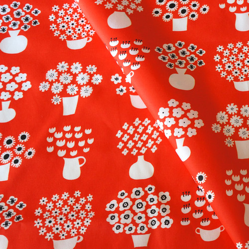 【オーガニックコットン サテン】flower base(red)98cm単位(幅142cm):受注生産