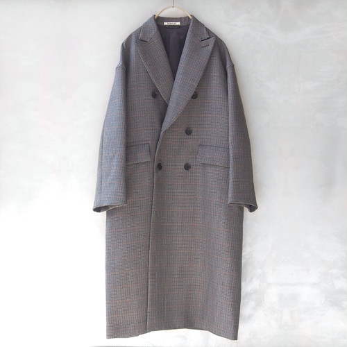 AURALEE DOUBLE FACE CHECK DOUBLE-BREASTED COAT CHARCOAL GUNCLUB CHECK