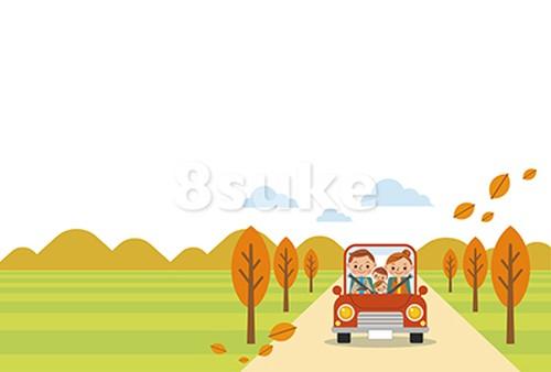 イラスト素材:ドライブを楽しむ家族/秋・ヨコ・白バック(ベクター・JPG)