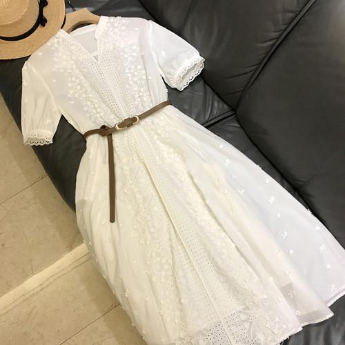 【dress】気質溢れる エレガント透かし彫りデートワンピースシンプル無地