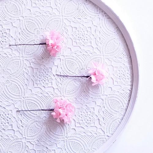 〖 ミスティーピンク・ピラミッドアジサイのヘッドドレスパーツ3本 〗お好きなプリザ花材をカスタムメイドでお作り致します