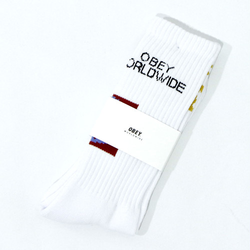 【OBEY】OBEY INDUSTRIES SOCKS (WHITE)