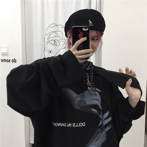 【トップス】新作ins人気暗黒アルファベットプリント長袖シャツ