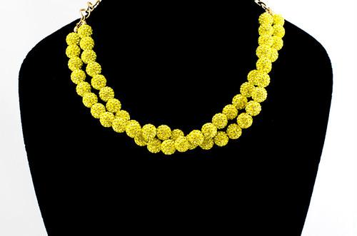 ラインストーンパヴェボールネックレス pve-neckcitron51 シトロン(黄色) パヴェ キラキラ