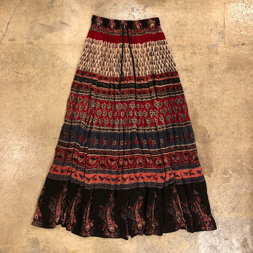 Ethnic Rayon Long Skirt ¥5,800+tax