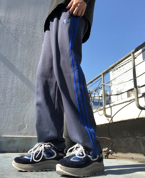 adidas / side line jersey pants - glay×blue -