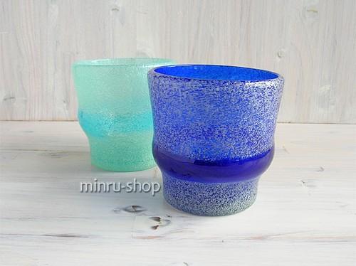 琉球ガラス ペアグラス 泡帯ロックグラス2個セット 青・スカイ minru-shop|琉球ガラス みんるー商店|