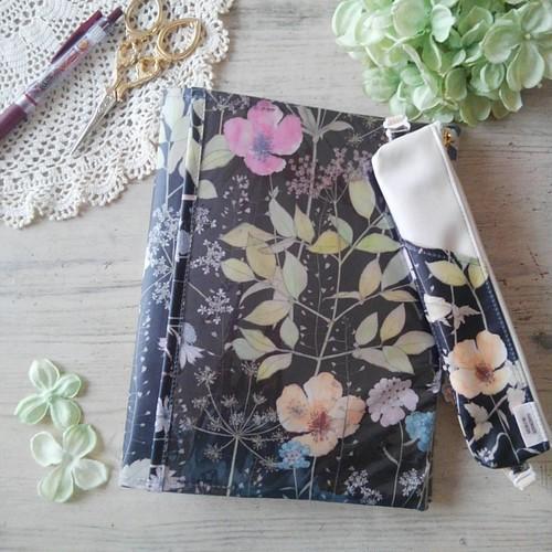 イルマ ブラック&ピンク*リバティ手帳カバー・ぺンケースセット*ナカバヤシサイズ