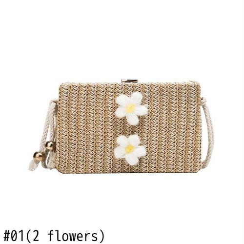 Flap Bag Straw Shoulder Bag Messenger Crossbody Bag サマー 夏物 ショルダーバッグ クロスボディ フラワーデザイン (HF99-1005890)