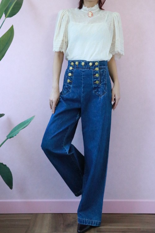 marin like button denim wide pants