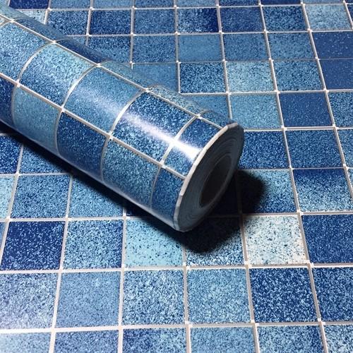 RUDOSTYLE 壁紙 タイル クロス はがせる 防水 壁紙シール 超簡単リフォーム 45cm×10m (タイル調 ブルー)