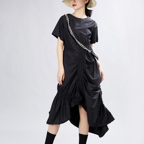 ミモレ丈アシンメトリーワンピースドレス