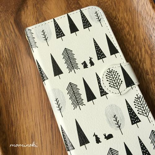 白黒な森とうさぎ★北欧パターン★手帳型スマホケース★iPhone他Xperia/Galaxyなど