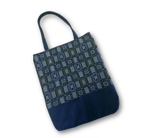 69 大島紬×紬リメイク縦長トートバッグ(黒×紫・四角)