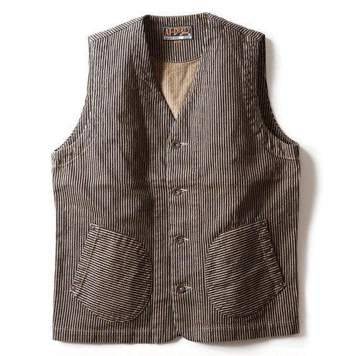 AT-DIRTY(アットダーティー)/WORKERS VEST (BROWN HICKORY)