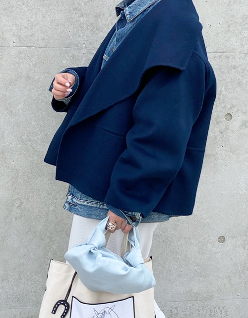 Shawl color coat【NAVY】