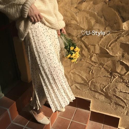 【即日発送】ドット柄ロングスカート18091304