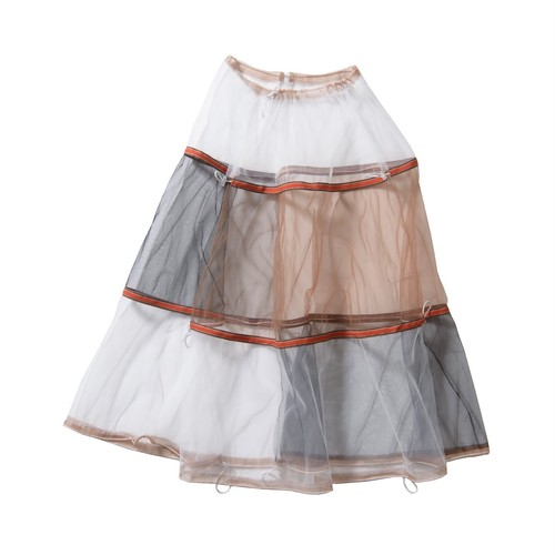 tulle long skirt #black×brown