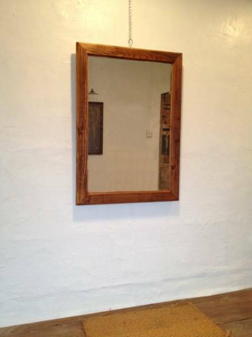 数量限定 WMW-B 鏡 ミラー 古材 木製枠 壁掛け 置き鏡 美容室 中型 サロン アパレル店 ご自宅