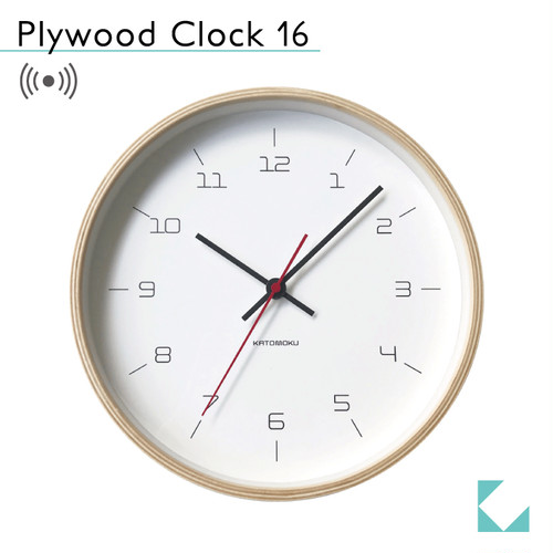 KATOMOKU plywood clock 16 km-105NARC ナチュラル 電波時計