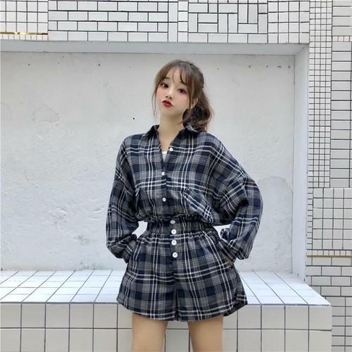 韓国風チェック柄学生シャツ++キャミソール+ショートパンツ3点セットアップ