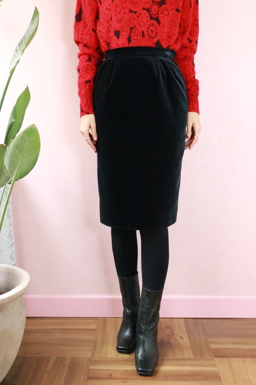 YSL - rive gauche balck velour skirt