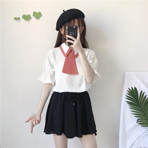 【トップス】春夏韓国風キュートスウィート配色折り襟半袖POLOネックシャツ