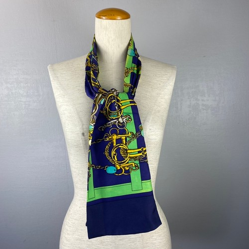 HERMES SILK100% ASCOT TIE SCARF MADE IN FRANCE/エルメスシルク100%アスコットタイスカーフ