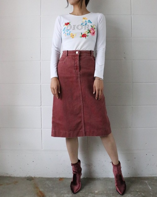 CELINE wine-red denim skirt
