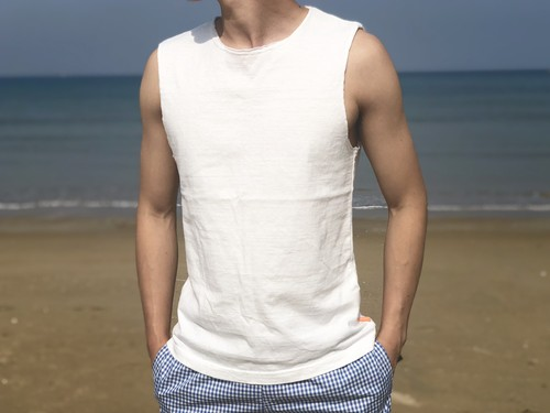 ThreeArrows Cut-off Sleeveless(white)