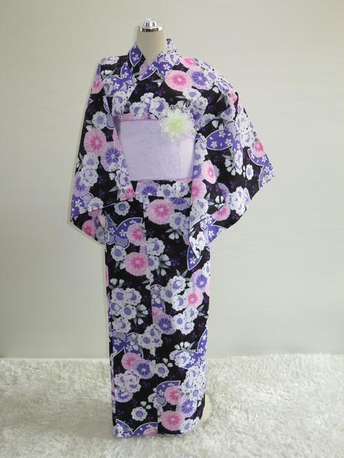 【販売】車椅子用浴衣 スカートタイプ36 Lサイズ(黒地 小花)