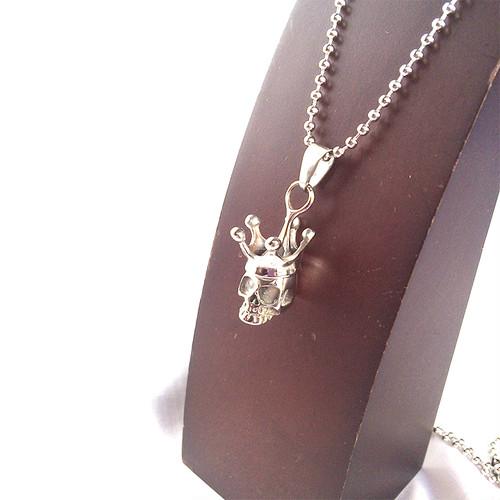 スカル 王冠 クラウン 316L スカル ガイコツ 骸骨 ドクロ 髑髏 ネックレス 銀 シルバー 1342