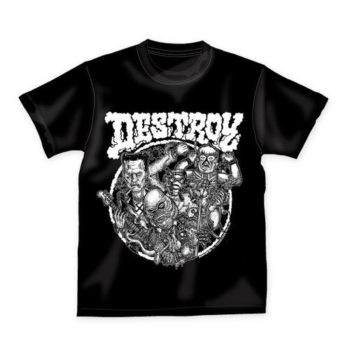 TRMTD-002 DESTROY MONSTERS T-SHIRTS artwork by KAZUHIRO IMAI 【ブラック】