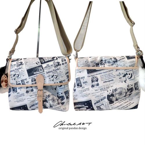 ◆受注生産◆ショルダーバッグ「パンダニュース」柄