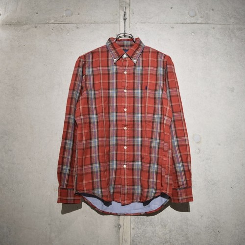 POLO RALPH LAUREN CLASSIC FIT CHECK SHIRT / RED x GRAY