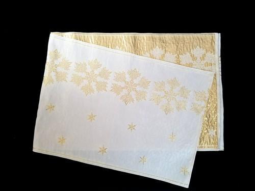 リバーシブル織兵児帯 雪の結晶 (crystal of snow)白×ゴールド
