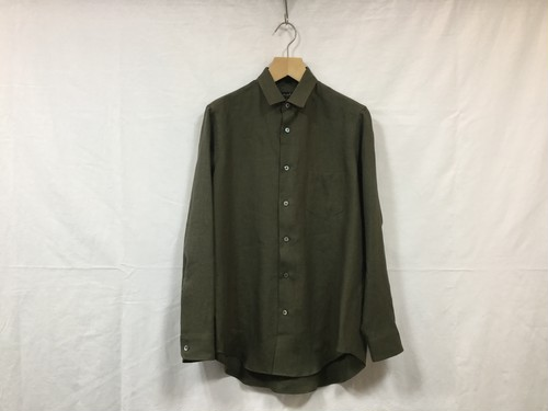 "semoh""linen gather shirt khaki"""