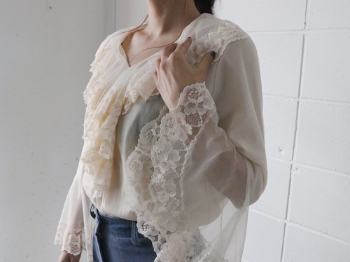70's lace flare sleeve tops