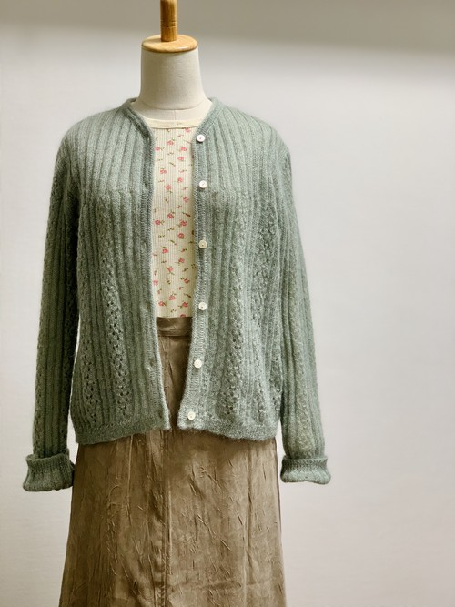 Eddie Bauer Light Green Mohair Cardigan Made In UK