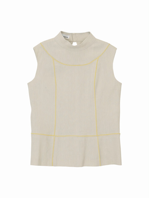 Colour line switched tops  / natural × yellow / S16TP01