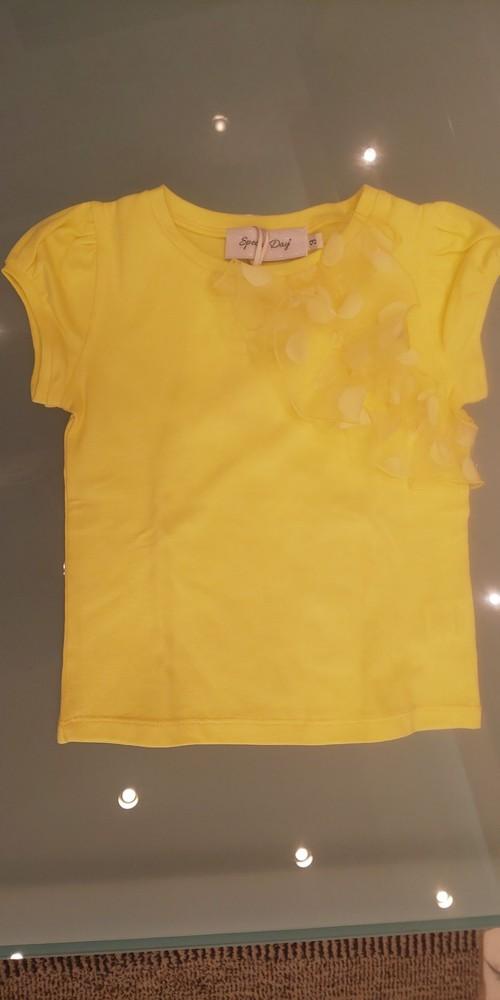 SpecialDay ドットチュールフリル付きTシャツ(イエロー) 8~10才