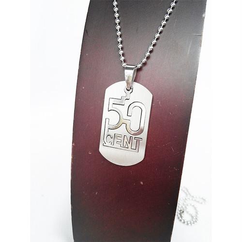 50CENT 50セント プレート チョーカー ネックレス シルバー 銀 SILVER ボールチェーン 1768