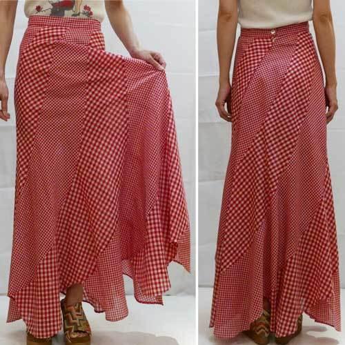 XS~Mサイズ【アメリカ製古着】1960年代ヴィンテージ◆赤白のギンガムチェック◆バイアスカットのマキシフレアースカート