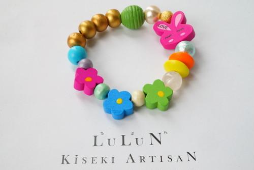 LuLuNキッズブレスレットStone&Wood(フラワープリンセスシリーズ6)