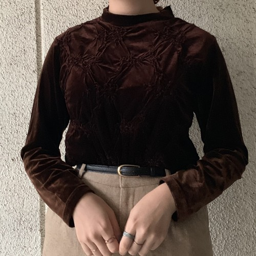 (LOOK) velours embroidery l/s tops