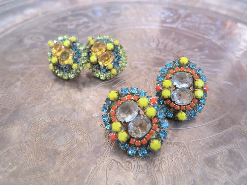 vintage earrings bijou <ER-RBylbl>