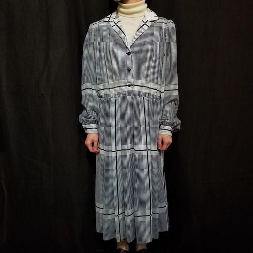 Check pattern open collar one-piece [K-805]