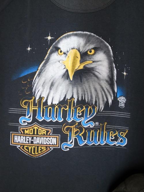 80's TOPHALF Harley RULES Eagle Bar&Sield Harley-Davidson T-Shirts(黒)